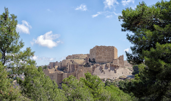 Karak Castle between the trees